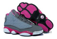 nike air jordan 13 womens grey white pink shoes discount