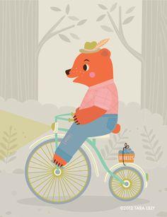 VELOCIPEDE~Animal Bike Ride Mr. Bear Children's Nursery Art Gliclee Print.via Etsy.