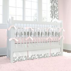 Girl Baby Crib Bedding: Pink and Gray Elephants Crib Bedding - Fabric Swatches Only by CarouselDesignsShop on Etsy https://www.etsy.com/listing/198738540/girl-baby-crib-bedding-pink-and-gray