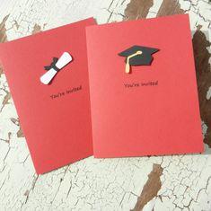 Handmade Graduation Invitations - 10 Pack - Red. $14.00, via Etsy.