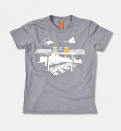 Riding the Jolly Trolly at Fairyland is a colorful cruise through a friendly and unusually proportioned world. Make your everyday gray trips more like that with our Jolly Trolly t-shirt.