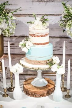Cake from a Rustic Chic Baby Shower on Kara's Party Ideas | KarasPartyIdeas.com (24)