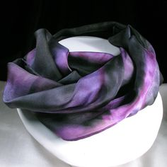 Silk Scarf Hand Painted Silk Scarf Black Violet Purple by Quintess