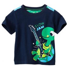 Jumping beans cotton kids baby infants boy short sleeve t-shirt turtle tortoise tee