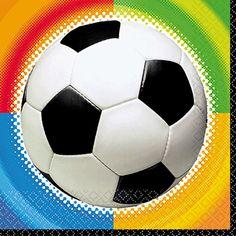 Voetbal servetten met een gekleurde achtergrond. 16 stuks voetbal servetten en drielaags. De afmeting van de voetbal servetten is 25 x 25 cm.