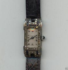 Antik Armbanduhr 14 Kt 585 Weiß Gold Brillant Saphir Rhomben Brillanten Uhr