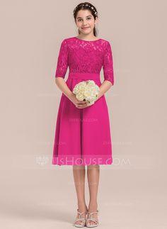A-Linie/Princess-Linie U-Ausschnitt Knielang Chiffon Kleid für junge Brautjungfern Junior Bridesmaid Dresses, Scoop Neck, Burgundy, Princess, Formal Dresses, Sleeves, Vintage, Style, Fashion