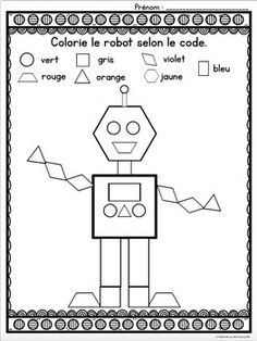 French Shapes - Colour by Shapes MATH Worksheets (Les formes) Math Coloring Worksheets, French Worksheets, 1st Grade Worksheets, Kindergarten Math Worksheets, Maths, Learning French For Kids, French Language Learning, Math For Kids, Spanish Language