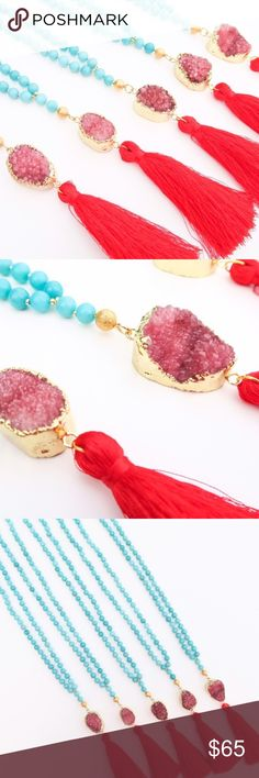 """Raw Red Druzy Tassel Necklace (1) Red Sacred Druzy Tassel Necklace  Turquoise agate and red druzy + tassel. Agate's healing stones balance a calming energy to ease anxiety, provide courage, strength and hope.  This agate + druzy stone tassel necklace has a 17"""" length bead chain. 24k gold plated around the druzy stone. Handcrafted with l o v e  in the USA. Jewelry Necklaces"""