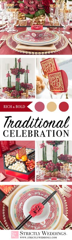 Happy Chinese New Year, we are kicking off the year of the Rooster by celebrating with two jaw dropping Asian fusion wedding ideas - modern and traditional. Chinese Wedding Decor, Vintage Wedding Theme, Wedding Themes, Rustic Wedding, Themed Weddings, Wedding Ideas, Sports Wedding, Reception Table Decorations, Warm Colour Palette