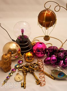 Steam Punk Christmas tree ornaments. My favorite is the hot air balloon. DIY instructions included.
