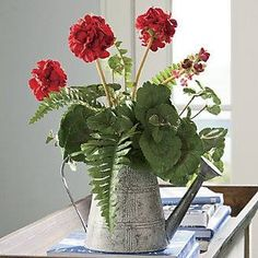 Geraniums in an Old Watering Can