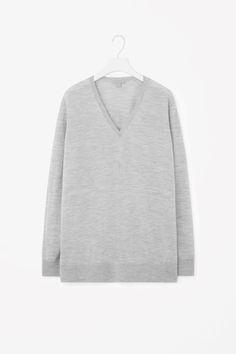 COS image 2 of V-neck merino jumper in Light Grey