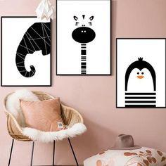 B&W Penguin Elephant Giraffe Bear Art Canvas Poster, Animal Decoration, Nursery, Children Room