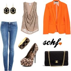 Outfit Blazer orange!! My Outfit, Passion For Fashion, Fashion Ideas, Blazer, Orange, Jeans, How To Wear, Closet, Outfits