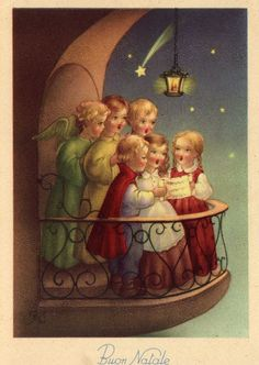 Miss Jane: Christmas Cards -Buon Natale Vintage Christmas Images, Old Christmas, Old Fashioned Christmas, Victorian Christmas, Retro Christmas, Vintage Holiday, Christmas Pictures, Christmas Angels, Christmas Greetings
