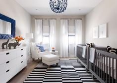 Black + White + Blue Baby room with Animal Accent Accessories | Heather Scott Home & Design