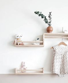 Ikea nursery - All the pretty little details in this sweet nursery housed on these cute shelves that are in fact spice racks from And finished in the nick of time! Ikea Nursery, Nursery Shelves, Nursery Room, Girl Nursery, Nursery Decor, Nursery Ideas, Baby Room Boy, Baby Bedroom, Baby Room Decor