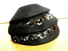 Chic Antique Black Wool Hat by UptownVintage on Etsy, $39.00