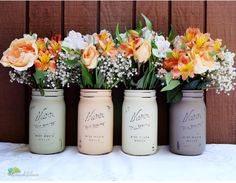 Thanksgiving Fall Home Decor Painted Mason Jars by BeachBlues
