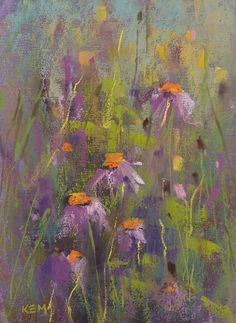 Purple Coneflowers Wildflowers  Original Pastel Painting Karen Margulis 5x7
