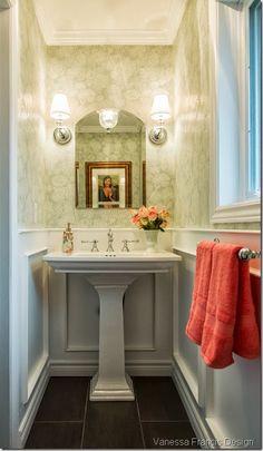 Powder room bathroom, pedestal sink, sconces, wainscoting. Vanessa Francis Design