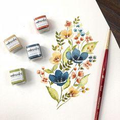 Likes, 78 Comments - Sweet Seasons Art Prima Watercolor, Watercolor Artwork, Watercolor Flowers, Watercolor Artists, Watercolor Portraits, Watercolor Landscape, Little Designs, Watercolor Techniques, Botanical Art