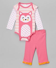 This Baby Mode Pink 'Forest Sweetie' Bodysuit & Pants - Infant by Baby Mode is perfect! #zulilyfinds