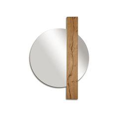 SUNSET_design Studio 14 Geometric-shaped mirror with vertical insert, made of seasoned and oiled oak. Finishing: oiled seasoned oak.