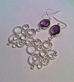 Matte Silver Textured Bubble Pendants with Grape by PacificAndKey, $23.00