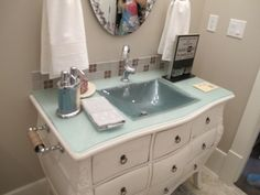 repurposed dresser.. just put glass over the top to make a sink (Utah Valley Parade of Homes 2011)
