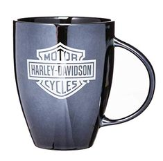 Harley-Davidson Bar and Shield Black Ceramic Coffee Mug. Harley-Davidson Bar and Shield Bistro Lustre Coffee Mug. This sleek glossy ceramic mug with lustrous gl Folding Bbq, Motor Harley Davidson Cycles, Evergreen Enterprises, Unique Gifts For Men, Cooking On The Grill, Biker Girl, Lady Biker, Novelty Items, Leather Journal