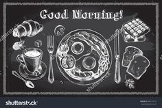 Traditional breakfast set. English breakfast, coffee, croissant, toast, waffle. Food elements collection. Vector illustration. Menu or signboard template for bakery and cafe. Chalkboard style poster.
