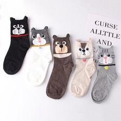 ab2997867 Women Cute Cartoon Ears Cat Pattern Socks Perspiration and Deodorization  Comfortable Socks Cartoon Ears