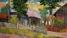 Lajos Kovács Emil - Houses in Szatmárhegy Houses, Paintings, Contemporary, Art, Homes, Art Background, Paint, Painting Art, Kunst