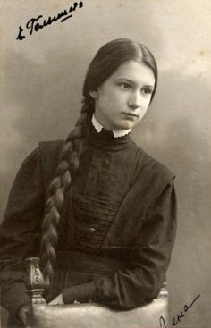 Russian school uniform. Elena Zhukovskaya, a schoolgirl from Moscow, 1909. #education