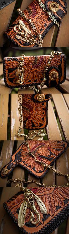 Handmade black leather indian skull carved biker wallet bifold long wa | EverHandmade