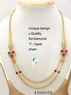 Buy Shri Nathji Imitation Goldplated 2 Line Chain For Women at Amazon.in Brass Necklace, Gold Plated Necklace, Necklace Sizes, Beaded Necklace, Layered Chains, Women Jewelry, Jewelry Design, Plating, Gifts