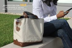 DIY: reversible denim and faux leather tote