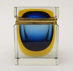 Italian Mandruzzato Murano Glass Sommerso Jewelry Hinged Box | From a unique collection of antique and modern glass at https://www.1stdibs.com/furniture/dining-entertaining/glass/