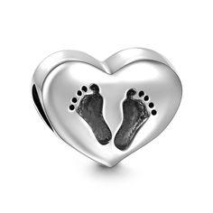 Footprint Heart Charm 925 Sterling Silver
