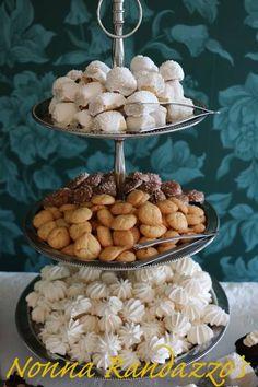 Dessert Table, Wedding Event,  Fig Cookies, Mini Almond Macaroons and Chocolate Almond Macaroons, Meringue Kisses