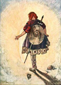 Cuchulain slays the Hound of Culain  Illustration by Stephen Reid (1904)