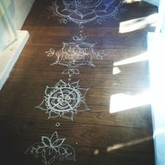 seek peace and balance - chakras painted rough floor boards