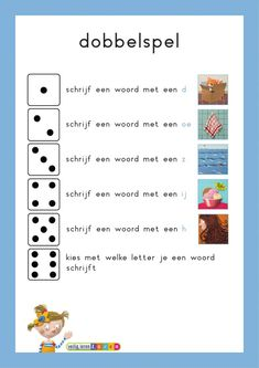 Dobbelspel kern 1 t/m 6 - jufbijtje.nl Visually Impaired Activities, Learn Dutch, Busy Boxes, Alphabet Worksheets, Speech And Language, Pediatrics, Kids Playing, Spelling, Circuit