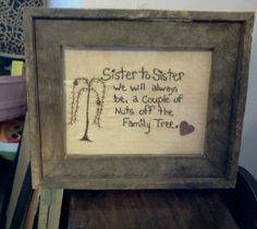 Hand stitched primitive picture, made by Cindy's Primitives