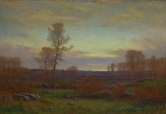 Evening: Late October, by American artist Dwight William Tryon, 1916.