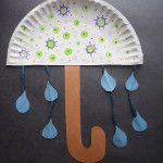 Paper Plate Umbrella and write u words on it!