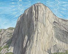Original Art and Archival Prints by Lizzy Dalton by LizzyDaltonArt National Park Gifts, National Park Posters, National Parks, Park Art, Yosemite Valley, Rock Climbing, Landscape Paintings, Original Art