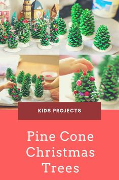 Here is a perfect Christmas project for your kids! Collect pine cones, use green paint and some little accessories and voila, you have little pine cone Christmas trees for your center table for example! Pine Cone Christmas Decorations, Pine Cone Christmas Tree, Christmas Decorations For Kids, Christmas Crafts For Kids, Christmas Projects, Rustic Christmas, Recycled Christmas Tree, Primitive Christmas, Christmas Stocking